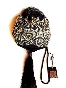 STUNNING Biba Art Deco Beaded Embellished Bucket Bag Crossbody Pouch NWT