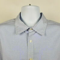 Jos A Bank 1905 Tailored Fit Blue Geometric Mens Dress Button Shirt Size XL