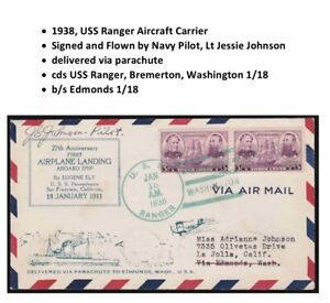 US First Flight Cover USS Ranger dropped via Parachute 1938 signed Lt Johnson