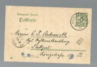 13373 - 1903 GA Bayern 5 Pfg. Schliersee- Stuttgart