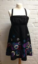 Ladies Belle By Oasis Black Floral Print Strappy Dress Size 12 100% Silk