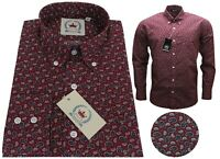 Relco Men's Paisley Burgundy Long Sleeve Button Down Collar Wine Shirt