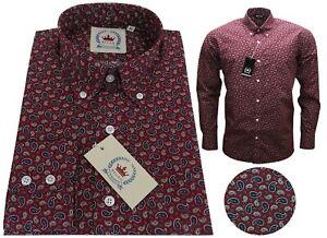 Relco Men's Paisley Burgundy Long Sleeve Button Down Collar Wine Shirt