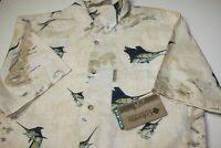 Columbia River Lodge  Fishing Button Down Blue Marlin Billfish Shirt Mens MEDIUM