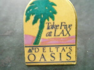Delta Airlines  Take Five at LAX  LAPEL PIN   Delta's Oasis 1988