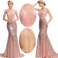 Long Mermaid Wedding Evening Formal Party Prom Ball Gown Bridesmaid Dress Sequin