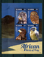 Gambia 2014 MNH African Birds of Prey 4v M/S Eagles Owls Owlets Falcons Stamps