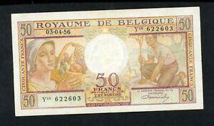BELGIUM 50 FRANCS  1956   PICK # 133b  VF.