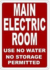 Main Electric Room Sign Reflective 10x14 Rust Free Aluminium Ref0420