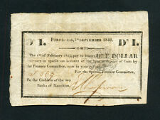 Mauritius:P-1F,1 Dollar,1842 * Port Louis * Emergency Issue * RARE *