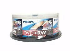 25 PHILIPS 4X DVD+RW DVDRW ReWritable Disc 4.7GB Branded Logo Spindle