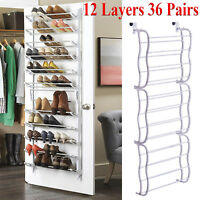 Over-The-Door Shoe Rack 36 Pairs Wall Hanging Closet Organizer Storage Stand PCC