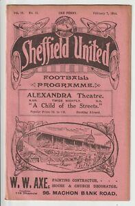 Sheffield United V Sunderland Vintage Division One Programme 1913/14
