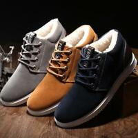 2019 Mens Casual Winter Thicken Flats Warm Shoes Snow Fleece Lace Up Ankle Boots
