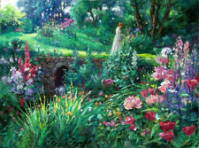 """Art Oil painting young lady walk-in-the-garden landscape with spring flowers 36"""""""