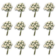 Craft Flowers -12mm Qty x 144 Mini Mulberry Paper Rose - OFF WHITE / NATURAL WH