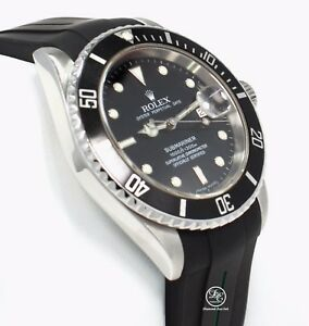 Rolex Submariner 16610 Date Stainless Steel RUBBER B Band Watch MINT Condition