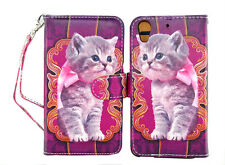 Cute Cat Design on Purple Wallet Leather Case for HTC Desire 626 626S