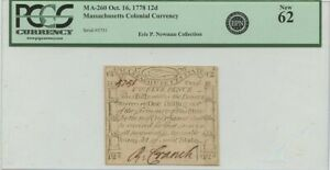 1778 12d Massachusetts Colonial Codfish PCGS MS62 Paul Revere