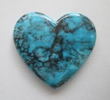 66.00 ct Heart Shaped Stabilized Kingman AZ Turquoise Cabochon Gemstone, CV 002