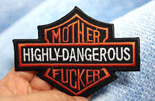 MOTHER HIGHLY-DANGEROUS IRON ON PATCH BIKER MOTORCYCLE EMBROIDERED SEW ON CAP