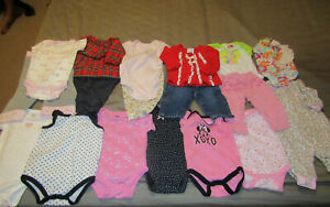 Baby Girl clothes 3-6 mth lot 18 Carters, Disney, Batman, Puma baby others Used