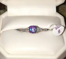 Ring Bomb Party Rings Size 9 Purple Fire Opal (Lab) and White Topaz New With Tag
