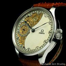 Vintage Men's Wristwatch Stainless Steel Half Skeleton Mens Watch Omega Movement