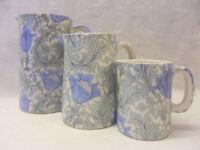 William Morris anemone design set of 3 jugs by Heron Cross Pottery