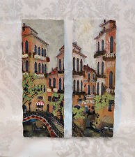 RUANE MANNING 3D hand painted wall plaque set 'Holiday in Venice I and II'