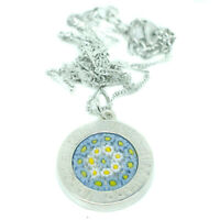 Murano Glass Necklace Pendant Blue Yellow White Silver Millefiori Venice