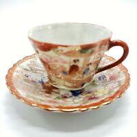 Vintage Antique Japanese Kutani Geisha Hand Painted Tea Cup and Saucer Porcelain
