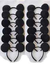 12 PC LOT MICKEY MOUSE EAR HEADBANDS SOLID BLACK PLUSH PARTY FAVORS COSTUME