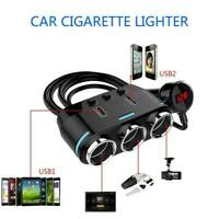 12V 3-USB Port Auto Car Cigarette Lighter Socket Splitter Charger Power Adapter