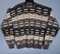 Jantzen Mens M Sweater Brown Geometric Long Sleeve Crew Neck Pullover Acrylic