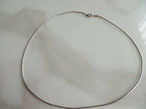 """Tiffany & Co. 925 Sterling Omega Wire Flexible Round Snake Chain Necklace 16""""L"""