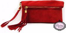 ladies red suede tassel clutch bag with detachable shoulder strap
