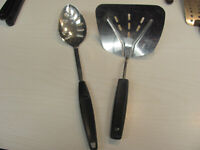Vintage FOLEY RETRO Black Handle Slotted Spoon Wide SPATULA Lot of 2 Made n USA