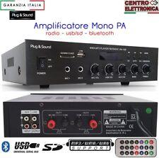 AMPLIFICATORE PA AUDIO 100V FILODIFFUSIONE 4-16 OHM BLUETOOTH RADIO USB/SD MP3