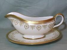 Aynsley Gold Dowery Bone China Gravy or Sauce Boat & Stand 7892