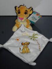 "Doudou Simba Roi Lion Mouchoir Blanc Gris ""I Am a King"" Palmier Disney Baby 9F"