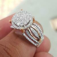 Gorgeous Round White Sapphire Wedding Ring 925 Silver Two Tone Party Jewelry