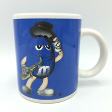M&M's Candy Saxophone Character Blue & White Ceramic Cup Mug So Cool EUC