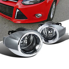 2012-2014 Ford Focus Bumper Fog Lights Driving Lamps w/Bezel+Chrome Grille Cover