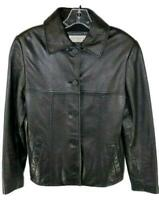 Jones New York Womens Ladies Black Leather Button Front Jacket Size Petite Small