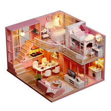 LED Light Wooden 3D DIY Dollhouse Miniature Furniture Doll House Kids Toys UK