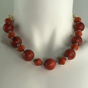 Handmade Necklace of Large Sponge Coral Round Beads and Orange Wood Silver Tone