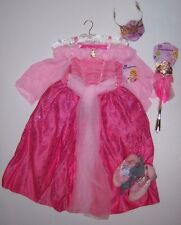 NWT Disney Store S 5-6 Deluxe Sleeping Beauty Aurora Costume Tiara Wand & Shoes