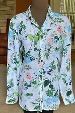 BANANA REPUBLIC Dillon Fit Floral Blouse Top Blue Multi Sz L 12 14 Ret $80