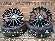 """SET OF 4 X NEW 18"""" FORD RS BLACK STYLE ALLOY WHEELS & TYRES FOCUS MONDEO CONNECT"""